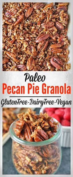 Paleo Pecan Pie Granola- gluten free, dairy free, vegan, and easy to make! The perfect snack or breakfast!