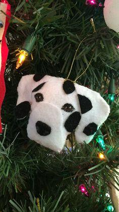 Dalmation felt Christmas ornament, 101 Dalmatians, coach dog, firehouse dog, spots, dog lover, dog walker, dog groomer, handmade gift idea