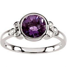 Bezel-Set Amethyst  Diamond Ring
