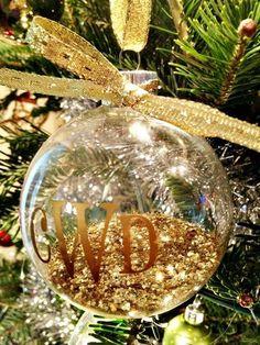 fill clear ornaments with glitter add monogram