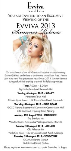 You are invited to an exclusive, fun and exciting evening with Evviva's New Catalogue Launch. All guests will receive an EXCLUSIVE Evviva Gift on the evening. Seats filling fast. Email me at evviva_diva@hotmail.com to book your seat (Gold Coast ONLY)  and be part of this special evening.   Your Evviva Diva Debra Smith