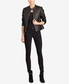 Lauren Ralph Lauren Petite Full-Zip Diamond-Quilted Leather Jacket - Black P/XL