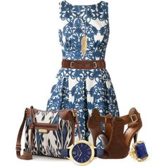 """Blue patterned bag"" by crapiblogabout on Polyvore"