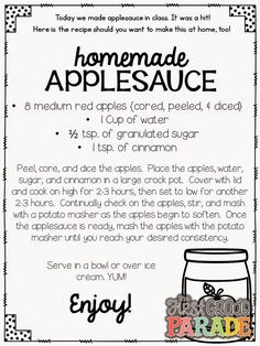 Apples, Apples, EVERYWHERE! Thinking this would be great to make as a class and then write a how to make applesauce using transitions