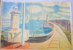 Newhaven Harbour - Homage to Seurat, 1937 (Giclee Numbered Limited Edition of by Eric Ravilious Newhaven, Seaside, Giclee Print, Original Artwork, Fine Art, Gallery, Illustration, Prints, British Artists