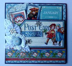 Graphic 45 Children's Hour Handmade Greeting Card January