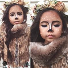 For a cute simple and oh so pretty Halloween look repost from Close up of my little fawn (see more a few posts back ) fur shawl/ flower crown- more listings coming soon! Deer Halloween Costumes, Halloween Outfits, Halloween Make Up, Deer Costume For Kids, Deer Halloween Makeup, Reindeer Makeup, Reindeer Costume, Pretty Halloween, Face Painting Designs