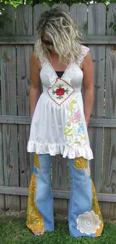 upcycled clothing  I like the top but would have made the jeans into a skirt. Very beautiful outfit. Lenett