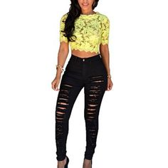 Verypoppa Women's Ripped Jeans Pencil Pants Leggings Black White (US S / CN Tag M, Black)  Obviously if you like to find the best clothing sales online then check out these deals.  All the clothes I have found are below $10 bucks and many items below $5.00.   You can find women's pants, dresses, clothes, skirts, shorts and even leggings for less than ten bucks.  These are amazing online sales that do not last long. These would make chic, fabulous, and cute additions to your wardrobe.  Especi