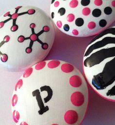 Pink and Black Dresser Knobs - For Nursery or Girl's Room - Zebra Print, Polka Dot and Monogram