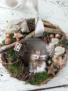 NATUR♥ Wald-Weihnacht♥ Türkranz mit Wald- Eule von ♥♥ kranzkunst ♥♥ auf DaWanda.com