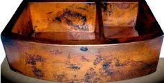 Double-bowl-COPPER-Kitchen-Sink-33x22-Farmhouse-Apron-60-40-natural-finish