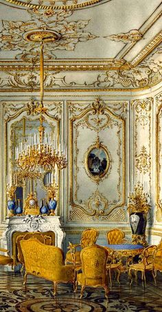 Paradiso Terestre RUSSIAN MANORS ~ Palace of Count Pavel Stroganov, Oberschenk and collectioner, sponsor and count during the era of Nikolay II. The Yellow Drawing Room of Stroganovs Palace, the century ~