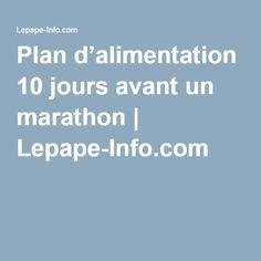 Plan d'alimentation 10 jours avant un marathon | Lepape-Info.com Nutrition, Sport, How To Plan, Triathlon, Trail, Cap, Running, Nutrition Plans, 10 Days