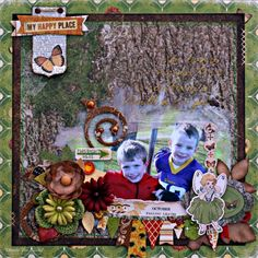 My Happy Place mixed media scrapbook page featuring the Enchanted Harvest collection by BoBunny and the Lovely Leaf Dies designed by Rhonda Van Ginkel. #BoBunny @snapwhiz