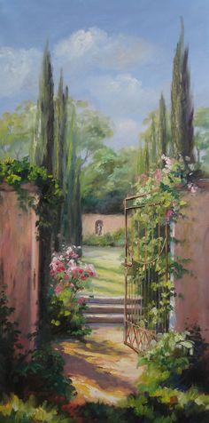 Hinter Dem Mit Rosen Bewachsenen Tor... Ein Romantischer Garten   Etwas  Vogelgezwitscher Und