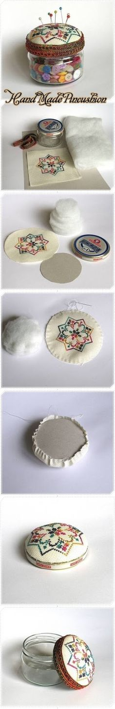 tres beau - L'Atelier de Jojo padded backing cross stitch jar topper for pin cushion. Cross Stitching, Cross Stitch Embroidery, Hand Embroidery, Cross Stitch Patterns, Fabric Crafts, Sewing Crafts, Sewing Projects, Fun Crafts, Arts And Crafts