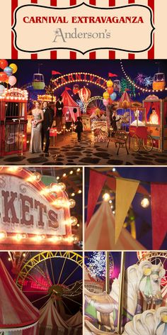 Our spectacular Carnival Extravaganza Complete Prom Theme has everything you need to decorate for a vintage carnival prom night! Vintage Circus Party, Carnival Wedding, Vintage Prom, Vintage Carnival, Carnival Themes, Circus Theme, Boardwalk Theme, Homecoming Themes, Halloween Photos