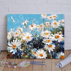 Daisy Painting, Flower Painting Canvas, Gouache Painting, Painting Abstract, Acrylic Paint Set, Wall Art Pictures, Love Art, Canvas Art, Creations