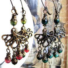 Octopus Earrings, Steampunk Earrings, Octopus Steampunk Jewelry, Gemstone Tiger's Eye or colorful Quartz, Dangling Earrings
