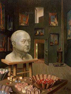 """Boris Anrep In His Studio, 65 Boulevard Arago"" Oil Painting, By Pierre Roy Max Ernst, Pierre Roy, Collages, Louis Aragon, Sculpture Head, Tate Gallery, Magic Realism, Surrealism Painting, Art Database"