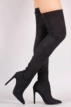 Gigi Stiletto Heel Pointy Toe Black OTK Stretch Boot