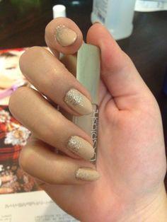 Ombré glitter nude almond nails