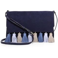 Rebecca Minkoff Sofia Tassel Suede Clutch (1.010 RON) ❤ liked on Polyvore featuring bags, handbags, clutches, bolsos, purses, apparel & accessories, moon, fold over purse, blue suede handbag and foldover handbags