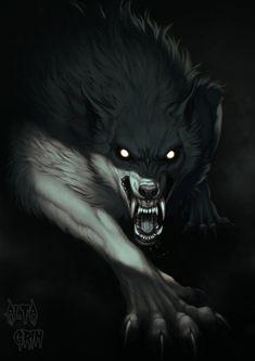 Horrortober: Werewolf II by AltaGrin on DeviantArt Wolf Artwork, Fantasy Artwork, Fantasy Wolf, Dark Fantasy, Fantasy Creatures, Mythical Creatures, Shadow Wolf, Werewolf Art, Wolf Wallpaper