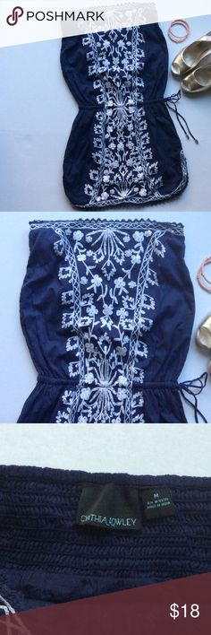 """Strapless boho! Navy blue with white detailed embroidery make this mini dress a perfect go to for just about any occasion!  Length from waist is 14"""", waist is elastic and is 24"""" unstretched, but stretches to 32"""", bust is 30"""", but has stretchy smocked back! Cynthia Rowley Dresses"""