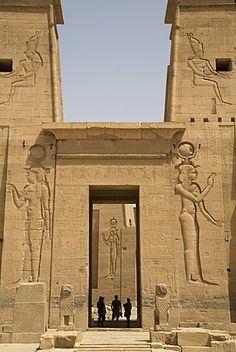 Reliefs depicting the Goddess Hathor, Second Pylon, Temple of Isis, Island of Philae, UNESCO World Heritage Site, Aswan, Egypt, North Africa, Africa