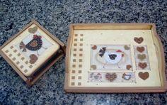 Kit Cozinha em madeira (mdf), porta guardanapo e bandeja decorados com papel para decoupage e pintura com estencil!