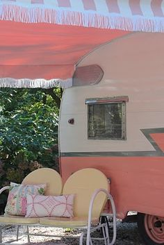 "~Color is ""Ford 1956 Sunset Coral"" ~Awning from Vintage Trailer Supply ( I would go camping in this pink camper) Retro Caravan, Vintage Campers Trailers, Retro Campers, Vintage Caravans, Camper Trailers, Happy Campers, Shasta Trailer, Pink Trailer, Vintage Rv"