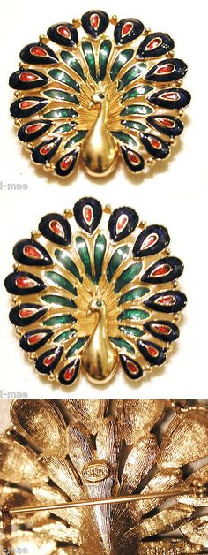Pins Brooches 165888: Vintage Peacock Pin Fan Tailed Green Blue Red Enamel Figural Bird Signed Sphinx BUY IT NOW ONLY: $54.0