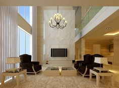 Living Room, Cool Round Chandelier With Elegant Black And White Living Room Set Plus Glass Wall Also Brown Area Rug Decor ~ Great Elegant Living Room Designs with Warm Atmosphere