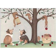 Shetland sheepdogs (shelties) reach for squirrels in apple tree / Lynch signed folk art print