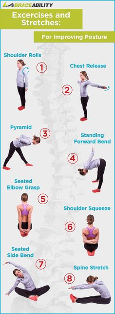 Stretching is an important factor in correcting  improving your posture. Here are 8 easy stretches to help give you good posture  strengthen your muscles! BraceAbility