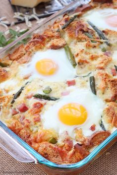 Make-ahead cheesy casserole, this caramelized onion and asparagus strata is a crowd pleaser. It takes very little time to put together and you most likely have all the ingredients on hand