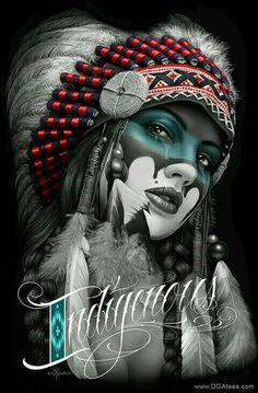 paintings of First Nation pinups Native American Tattoos, Native Tattoos, Native American Girls, Native American Beauty, American Indian Art, American Indians, Lowrider Art, David Gonzalez, Native Art