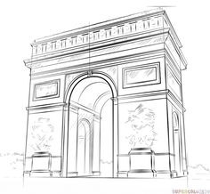 How to draw the Arc de Triomphe step by step. Drawing tutorials for kids and beginners.