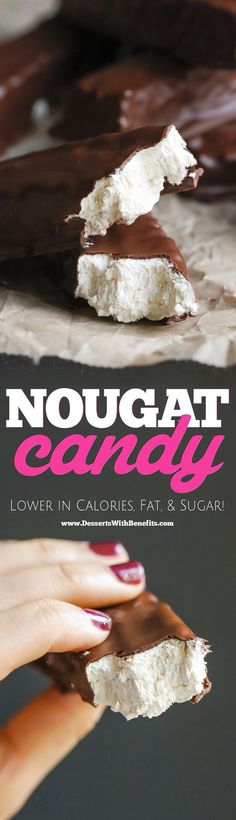 Fellow candy lovers! What's your vice?  Is that Snickers, Peanut Butter Cups, or Peppermint Patties? Or perhaps you're a fan of the simple things -- like chocolate-covered nougat. We all know that candy is bad for us (high-fructose corn syrup, trans fats, artificial flavors...), so I made these Healthy Homemade Nougat Candy Bars (aka 3 Musketeerz)!