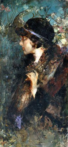 Irolli Vincenzo (Napoli 1860 - 1949) Nobildonna olio su tela, cm 100x47 firmato in basso a sinistra: V. Irolli