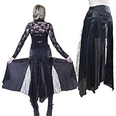 Hippies Womens Long Flap Punk Over Skirts waistcloth One Size,Black 550545