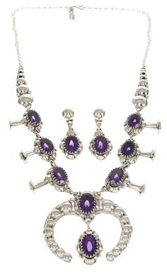Navajo Squash Blossom Amethyst Necklace and Earrings Jewelry Set MW69007 http://www.silvertribe.com