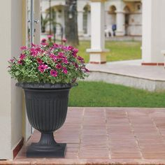 """23"""" Crescendo Urn Planter Urn Planters, Rubber Material, Recycled Rubber, Hanging Baskets, Timeless Design, Recycling, Flowers, Plants, Outdoor"""