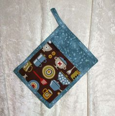 Pot Holder • Slate Blue Hot Pad • Blue Potholder • Brown Oven Mitt • Vintage Pyrex Bowls • Coffee • Dutch Oven • Kitchen Tools • Brown Blue