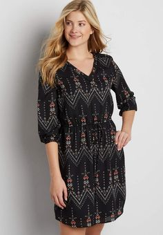chiffon dress with patterned chevron stripes | maurices