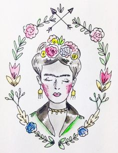 Frida Kahlo drawing by @lapin_luo on Instagram