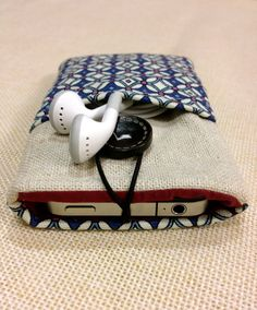Blue handmade iPhone case, iPhone sleeve,iPod touch cover,pouch, cellphone case, Kindle case, Samsung tab cover. $10.99, via Etsy.