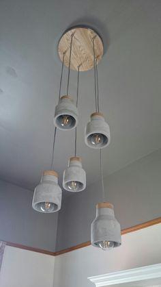 Concrete kitchen drop lights